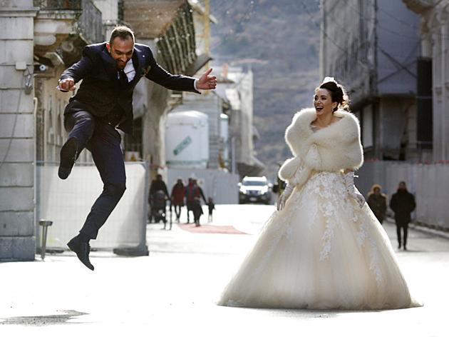 Gli sposi Mirko e Marika.